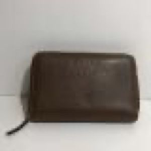 New Gucci Brown Leather Zip Around Coin Wallet